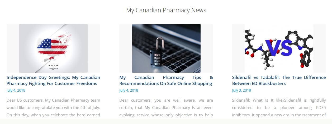 My Canadian Pharmacy Rx website structure